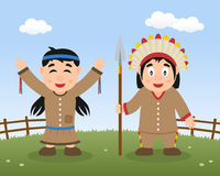 Happy Thanksgiving Day with Native Indians stock illustration