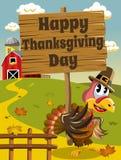 Happy Thanksgiving day pilgrim turkey wooden banner Royalty Free Stock Photo