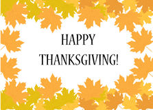 Happy thanksgiving day. Postcard with leaves, vector illustration.  Stock Photography