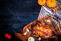Happy Thanksgiving day. Roasted chicken and turkey stock photography