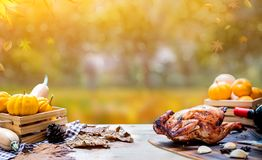 Happy Thanksgiving day. Roasted chicken and turkey for party in Autumn. And fall season stock photo