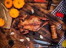 Happy Thanksgiving day. Roasted chicken and turkey for party stock images
