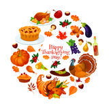Happy Thanksgiving Day round sticker emblem Stock Images