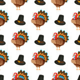 Happy Thanksgiving Day seamless pattern with holiday vector objects. Royalty Free Stock Photos