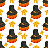 Happy Thanksgiving Day seamless pattern with holiday vector objects. Royalty Free Stock Images