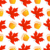 Happy Thanksgiving Day seamless pattern with holiday vector objects. Stock Photos