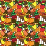 Happy Thanksgiving Day Seamless Pattern With Turkey And Harvest Vegetables Autumn Traditional Holiday Ornament Royalty Free Stock Photo