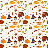 Happy Thanksgiving Day seamless pattern vector. Stock Photo