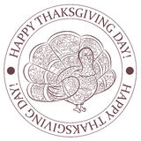 Happy thanksgiving day stamp with turkey silhouette Stock Photography
