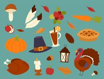 Happy thanksgiving day design holiday objects fresh food harvest autumn season vector illustration Stock Photos