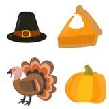 Happy thanksgiving day symbols design holiday objects fresh food harvest autumn season vector illustration Stock Photo