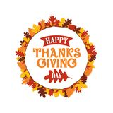 Happy thanksgiving day typography with autumn fall leaves ornament frame. Logo, badge, sticker, banner, label, card vector. Illustration design. eps 10 vector illustration