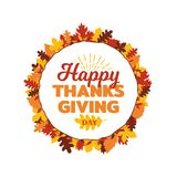 Happy thanksgiving day typography with autumn fall leaves ornament frame. Logo, badge, sticker, banner, label, card vector royalty free illustration