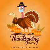 Happy thanksgiving day typography. turkey bird with pumpkins and corn Thanksgiving design use for prints,flyers,banners,