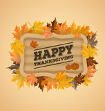 Happy thanksgiving day typography on wooden board Stock Photography