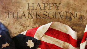 Happy Thanksgiving Day. Usa Flag. On Wood Stock Photos