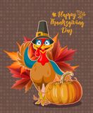 Happy Thanksgiving day. Vector greeting card with autumn fruit, vegetables, leaves and flowers. Harvest festival Royalty Free Stock Photos