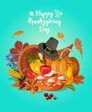Happy Thanksgiving day. Vector greeting card with autumn fruit, vegetables, pumpkin, leaves and flowers. Harvest festival Stock Image