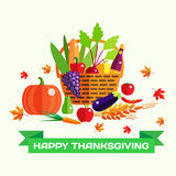 Happy Thanksgiving day vector greeting card with Stock Photography