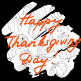 Happy Thanksgiving Day Vector Illustration. Hand Lettered Text o. N a Background full of pumpkins. Thanksgiving Day Hand drawn lettering card Stock Image