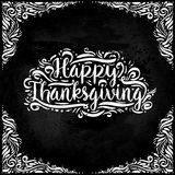Happy Thanksgiving Day Vector Illustration. White Text with on a Dark Background. design elements, pattern. Vector illustration Royalty Free Stock Image