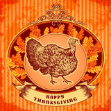 Happy Thanksgiving day. Vintage hand drawn vector illustration with turkey and autumn leaves on grunge background. Stock Photo