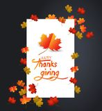 Happy Thanksgiving Day. White blank with autumn maple leaves.  stock illustration