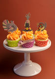 Happy Thanksgiving decorated cupcakes - vertical Royalty Free Stock Photos
