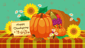 Happy Thanksgiving. Decorative table with pumpkins, sunflowers and a cornucopia. Eps10 Royalty Free Stock Images