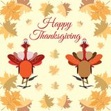 Happy Thanksgiving design with cartoon turkeys and maple leaves Stock Photos