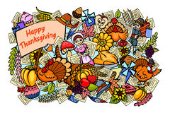 Happy Thanksgiving doodle drawing background Stock Photography