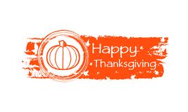 Happy thanksgiving drawn banner with pumpkin and fall leaves Royalty Free Stock Photo