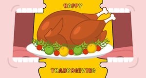 Happy Thanksgiving eat cooked turkey. Open mouth to make roast f Stock Image