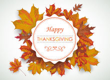Happy Thanksgiving Emblem Foliage Stock Photography