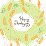 Happy Thanksgiving Fall Background with Wheat Ears. Vector illustration Stock Image