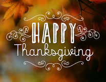 Happy Thanksgiving. With fall leaf background Stock Photography