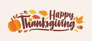 Happy Thanksgiving Festive Phrase Or Wish Handwritten With Calligraphic Script And Decorated By Squash, Fallen Foliage Royalty Free Stock Image