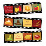 Happy Thanksgiving film strip. Happy Thanksgiving card template. Photos of Thanksgiving icons Royalty Free Stock Image