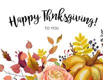 Happy Thanksgiving floral Greeting postcard, card design with Au. Tumn season orange Pumpkin, pink rose flower, colorful forest tree fall leaves, herb mix Stock Images