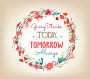 Happy Thanksgiving florals wreath Colors Stock Image