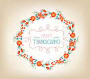 Happy Thanksgiving florals wreath Colors, Textures, and Elements Royalty Free Stock Image