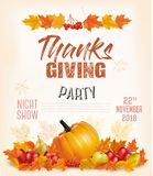 Happy Thanksgiving Flyer with colorful leaves and autumn vegetables royalty free stock photos