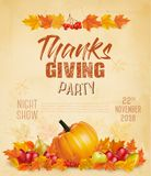 Happy Thanksgiving Flyer with colorful leaves royalty free stock photography