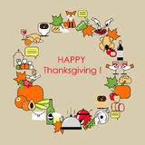 Happy Thanksgiving. The frame of the icons on the day of Thanksg Royalty Free Stock Image