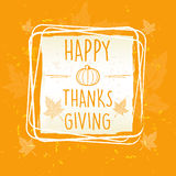 Happy thanksgiving in frame with pumpkin and leaves over orange. Old paper background, seasonal concept Stock Images