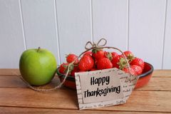Happy Thanksgiving fruit Stock Images