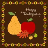 Happy Thanksgiving with with fruit and sunflower border. Vector Stock Image