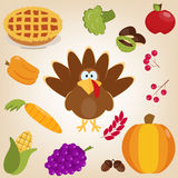 Happy Thanksgiving funny illustration. Flat style. Set with turkey, autumn leaves, pumpkin, carrot, acorns, chestnuts, berries in cartoon style. Funny character Stock Photography