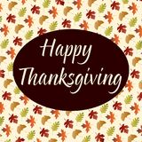 Happy thanksgiving on gradient leaf pattern on tan. Vector Royalty Free Stock Photography