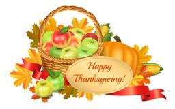 Happy Thanksgiving greeting card. Basket with apples, pumpkin Royalty Free Stock Photos